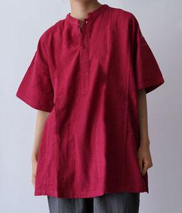 ヂェン先生の日常着 ヘンリーシャツ半袖 褪赤 Sサイズ
