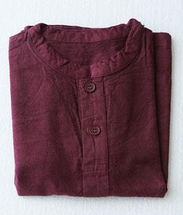 キッズヘンリーシャツ長袖厚地 紅小豆 Sサイズ