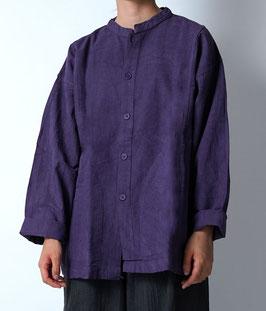 ヂェン先生の日常着 開襟シャツ厚手 桔梗 粗織 Sサイズ