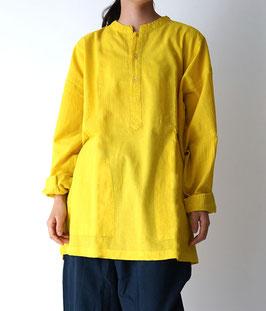 ヂェン先生のヘンリーシャツ長袖薄地 黄色 M