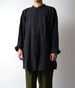 ヂェン先生の開襟シャツ長袖薄地 黒 Lサイズ