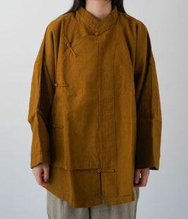 ヂェン先生のエプロンチャイナ厚地 粗織 黄土