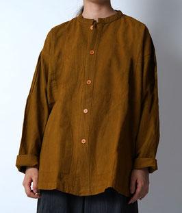 ヂェン先生の日常着 開襟シャツ厚手 黄土 粗織 Sサイズ