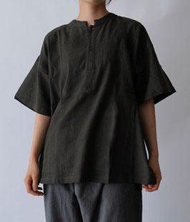 ヂェン先生の日常着 ヘンリーシャツ半袖 ブラックオリーブ Sサイズ