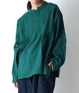 ヂェン先生のヘンリーシャツ長袖薄地 緑 S