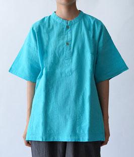 ヂェン先生の日常着 ヘンリーシャツ半袖 アクア Sサイズ