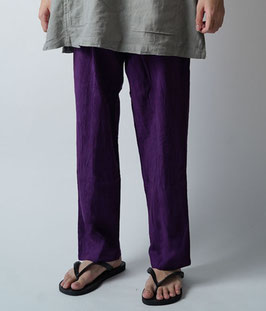 ヂェン先生の日常着 シンプルパンツ薄手 紫 Lサイズ(W66)