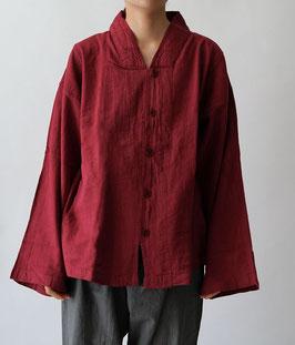 ヂェン先生のV襟シャツ薄地 暗赤