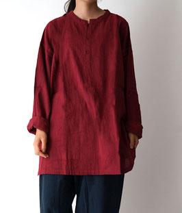 ヂェン先生のヘンリーシャツ長袖薄地 暗赤 M