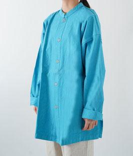 ヂェン先生の開襟シャツ厚手 空 密織 Mサイズ