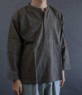 ヂェン先生のヘンリー長袖厚地 粗織 灰茶 Sサイズ