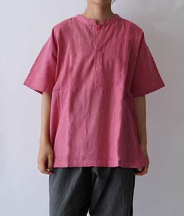 ヂェン先生の日常着 ヘンリーシャツ半袖 オールドローズ Sサイズ