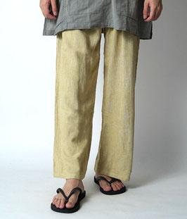 ヂェン先生の日常着 リラックスパンツ厚手 薄黄 Lサイズ(W60)