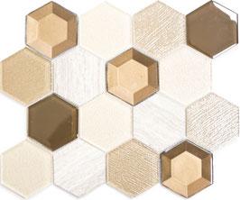 Mosaico 3D Big Hexagon marmo vetro Beige