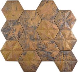Mosaico Esagono 3D in Metallo Rame