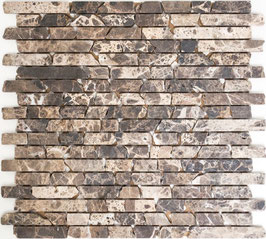 Mosaico Muretto Marmo Impala Brown anticato