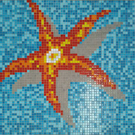 Mosaico STELLA MARINA su fondo Mix Azzurro