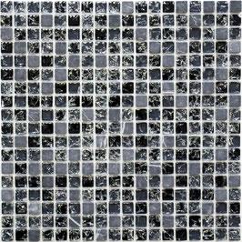 Mosaico Marmo Vetro 15mm Cub Black