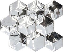 Mosaico Esagono 3D in Metallo Acciaio lucido