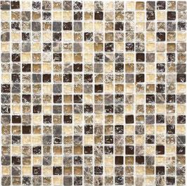 Mosaico Marmo Vetro 15mm Cub Mix Emperador