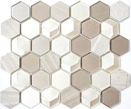 Mosaico 3D Hexagon marmo vetro Beige