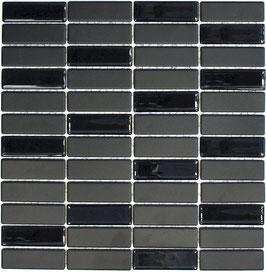 Mosaico Ruvido MIX NERO VETRO MATTONCINO non smaltato