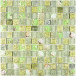Mosaico vetro marmo 23mm Conchiglia Verde