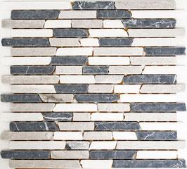 Mosaico Muretto Marmo Trix Botticino Grigio Nero anticato