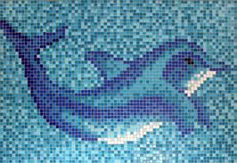 Mosaico DELFINO su fondo Mix Azzurro