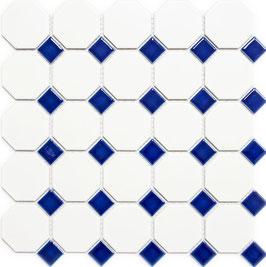 Mosaico Ottagono BIANCO MAT BLU LUC