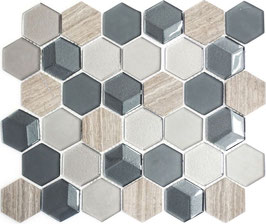 Mosaico 3D Hexagon marmo vetro Grigio