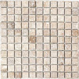 Mosaico Marmo 26mm Travertino Noce anticato