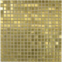 Mosaico 15mm in Metallo Acciaio Oro satinato