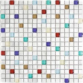 Mosaico 15mm in Alluminio Vetro Alba
