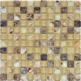 Mosaico vetro marmo 23mm Conchiglia Emperador