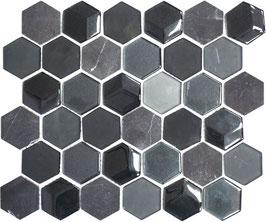 Mosaico 3D Hexagon marmo vetro Nero