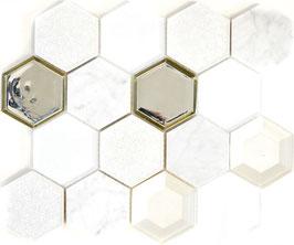 Mosaico 3D Big Hexagon marmo vetro Bianco