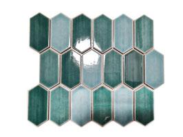 Mosaico Japan ESAGONO LONG Verde lucido