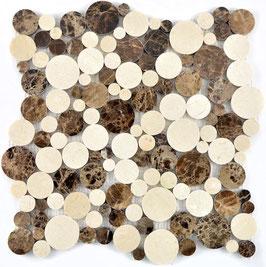 Mosaico Marmo diametro  15/20/32/42mm Botticino Emperador lucido