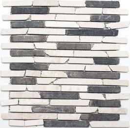 Mosaico Muretto Marmo Biancone Nero anticato