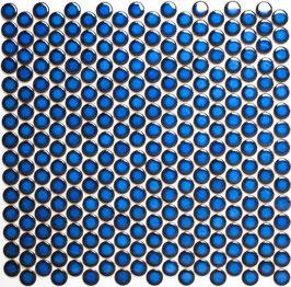 Mosaico Bottone BLU COBALTO LUCIDO