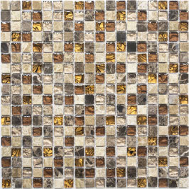Mosaico Marmo Vetro 15mm Natural Brown