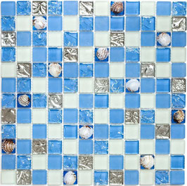 Mosaico vetro 23mm Conchiglia Azzurra