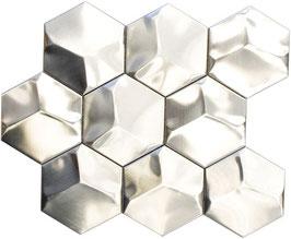 Mosaico Esagono 3D in Metallo Acciaio satinato