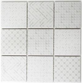 Mosaico RETRO QUADRATO BIANCO LUCIDO 10x10 cm