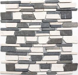 Mosaico Muretto Marmo Biancone Nero Marquinia Big anticato