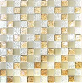 Mosaico Foglia 23mm Oro&Glass