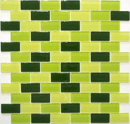 Mosaico Brick CRYSTAL VERDE FLUO in vetro lucido 25x50mm