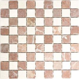 Mosaico Marmo 32mm Mix Botticino Rosso Verona anticato