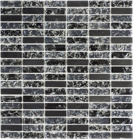 Mosaico Marmo Vetro 15/50mm Brick Broken Black